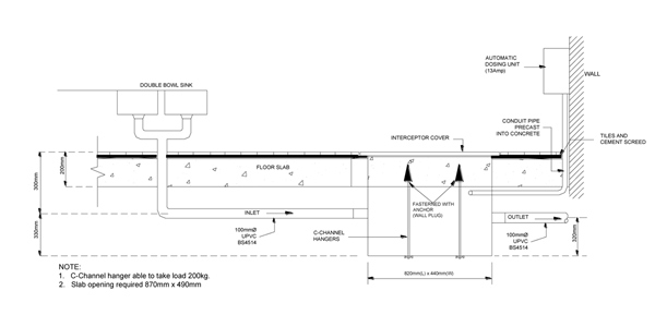 Installation For Lakasa Grease And Sediment Interceptor Floor